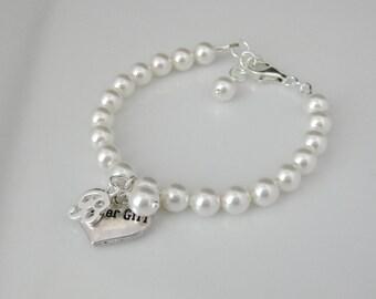 Personalized Flower Girl Bracelet Bridal Jewelry Swarovski Pearl Bracelet Bridesmaid Bracelet Bridesmaid Jewelry