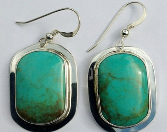 Blue Turquoise with Brown Matrix Earrings