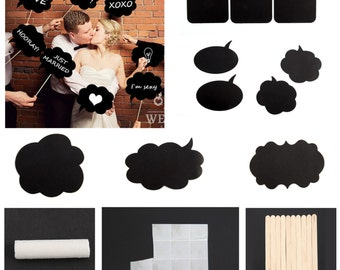 Vintage style Photo Booth Chalk board Speech Bubbles - Ideal for Weddings and Celebrations