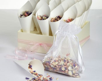 Real Dried Flower Confetti Set Tray & 25 cones and petals - Various Colours