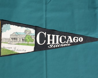 Vintage 1950's Chicago Illinois  Museum of Science and Industry Pennant