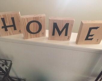 """Large """"HOME"""" scrabble pieces"""