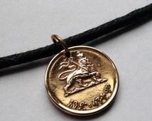 1944 Ethiopia 1 Santeem coin pendant necklace jewelry Rastafari Rasta Haile Selassie African crown Jewish tribe Zion Lion of Judah No.000602