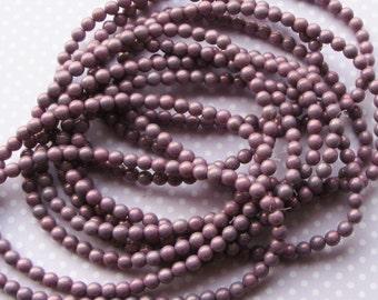 Czech Pressed Glass Round Beads, Druk, 5mm, 40 beads, Purple Luster