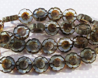 pk of 4 Clear Brown Czech Glass Table Cut Hawaii Beads 16mm Rustic Boho Flowers Pansy