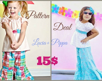 PACK:Lucia Peasant top/dress sizes 3M to 12 Years pdf Pattern All Sizes Included and Pippa Flare Leg Pallazo Pants 3M to 8 Years pdf pattern