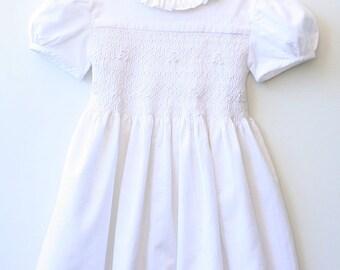 Dress girl smocked in pinwale corduroy - short sleeves