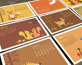SALE 50% OFF - 2016 Calendar- Desk Calendar- Monthly calendar- 2016 Desk Calendar- Mini Desk Calendar - Woodland Animals- Fox- Animal art