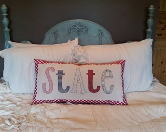 Ready to ship State Applique Pillow