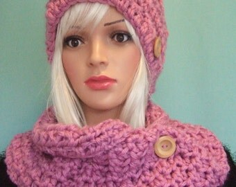 beanie hat cloche hat Crochet chunky hat and cowl set Crochet hat for women Crochet cowl Chunky Hat Winter hat winter accessories