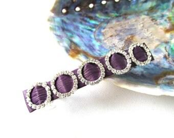 Purple barrette, purple leather hair clasp, leather barrette, diamante hairslide, sparkling purple hairclasp, purple wedding barrette Ruby62