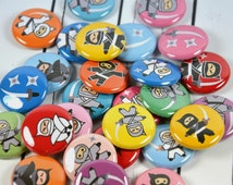 "20 Ninja Pin Back Badges, 1"" Pinbacks, Ninja Buttons, Ninja Party Favors, Ninja Zipper Pulls"