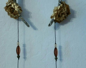 Gold headdress with gold flowers and dangling beads