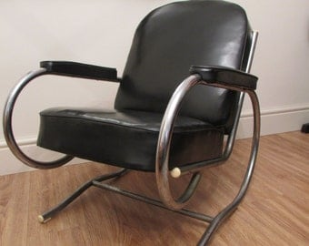 French Art Deco Bauhaus Chair by Batistin Spade 1930s
