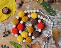 Long Autumn colors Nursing Necklace /Crochet Necklace Breastfeeding / Baby Wearing necklace /Teething necklace / Crochet accessory for Sling