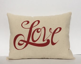 Valentine pillow, Love pillow, Valentine applique pillow