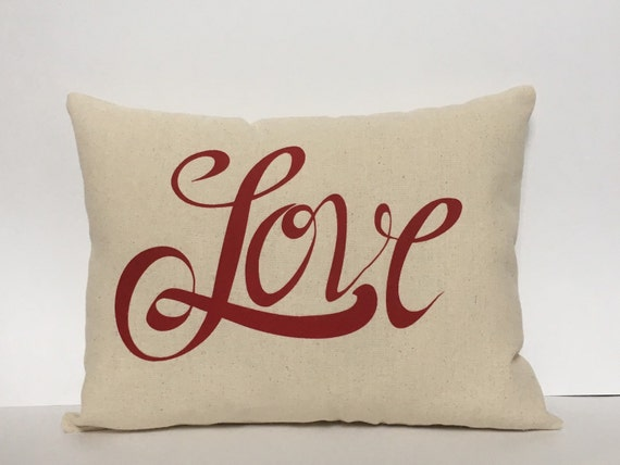 Valentine pillow, Love pillow, Valentine applique pillow