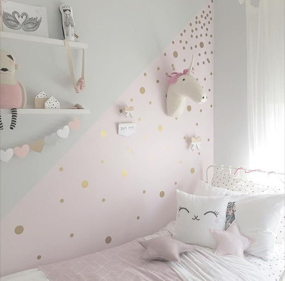 Gold polka dot decals spot decal home decor vinyl wall for Girls bedroom paint ideas polka dots
