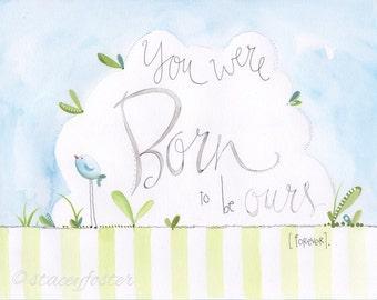 Adoption - Adoption art - Adopted baby - Adoption gift - Baby adoption - Bird art - Stacey Foster art - Watercolor artwork