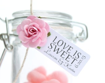 Wedding favor tag reads LOVE IS SWEET - personalized tags, candy bar, edible favors, small favor tags