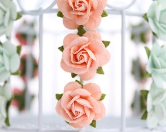Peach rose embellishments - decorations for favors, cards, thank you tags, gift tags, wedding decorations and more