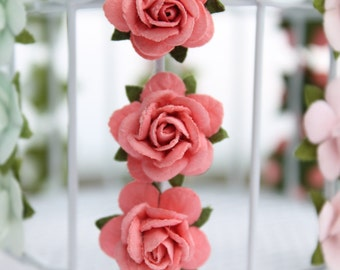 Coral rose embellishments - decorations for favors, cards, thank you tags, gift tags, wedding decorations and more