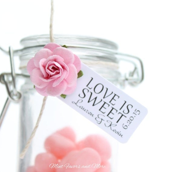 Wedding Favor Tag Reads LOVE IS SWEET Personalized Tags