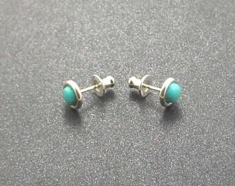 Kingman Turquoise Sterling Silver Stud Post Earrings