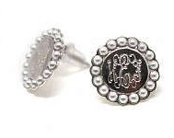 Monogrammed Earrings, Sterling Silver and Pearl Earrings