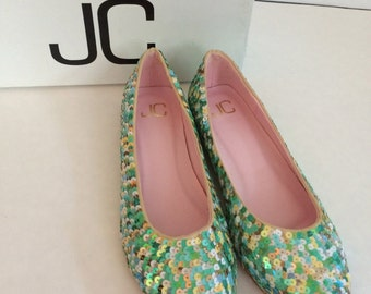 Multi Colored JC Sequins Flats. Women's Shoes. Size 7.5. Blue/Green