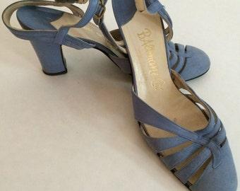 Vintage Isabel of Madrid Periwinkle Blue Sling Back Heels. Women's Shoes Size 7.5