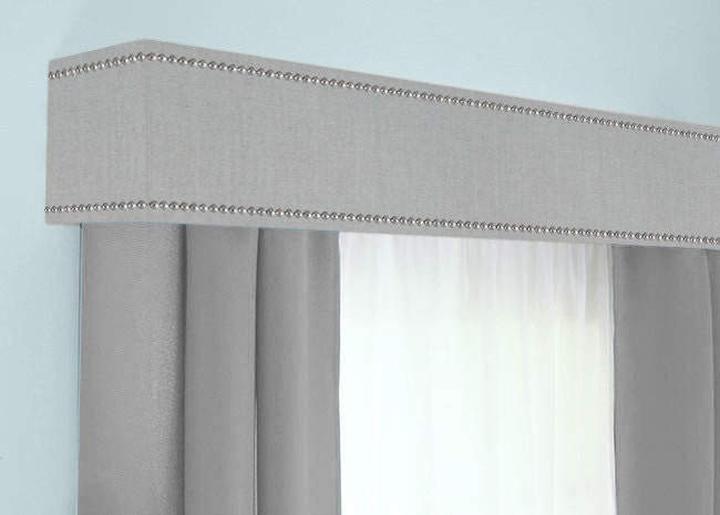 Custom Cornice Board Pelmet Box Window Treatment in Grey with