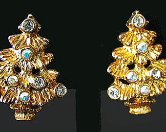 Christmas Tree Earrings Pierced Sparkly Aurora Borealis Rhinestones Goldtone Tiny