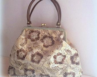 Batik fabric bag with metal closure