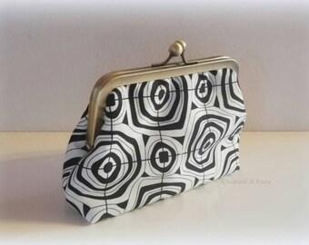 White clutch bag black