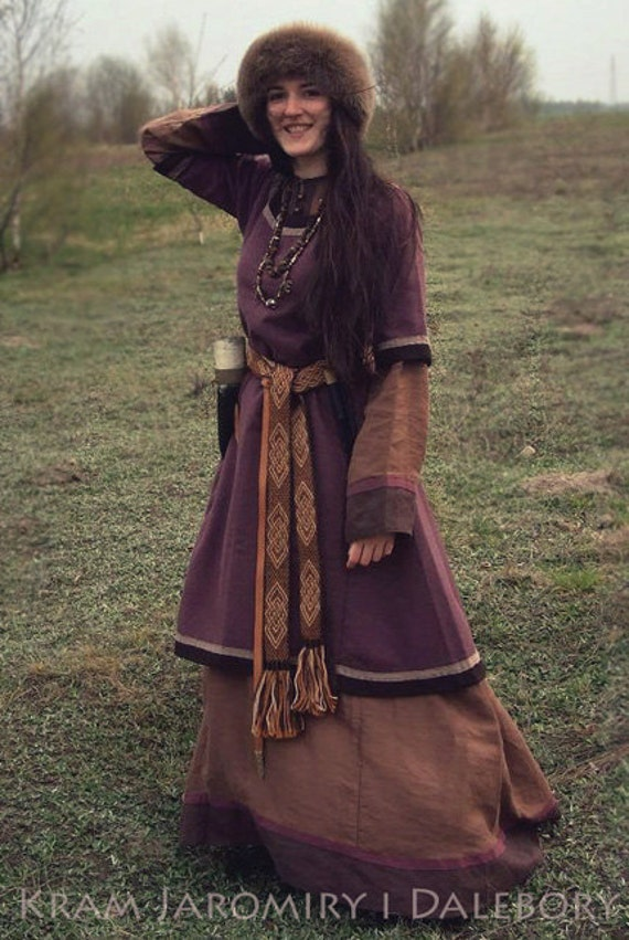 Early medieval woolen dress tunic viking costume Ancient Vikings Clothing