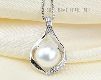 freshwater pearl pendant necklace,pearl wedding pendant,bridesmaid pearl pendant,white pearl pendant, pearl necklace pendant,pearls pendants