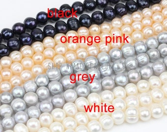 9-10mm grey freshwater pearl strand,potato near round pearl string,gray pearls wholesale,large hole pearls 1.0mm,1.5mm,2.0mm,2.2mm,2.5mm
