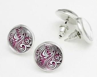 Silver Pattern Studs. Delicate Earrings Studs. Glass Dome, Nickel Free Stud Earring, Silver Stud Earrings KSZ03R16K06S