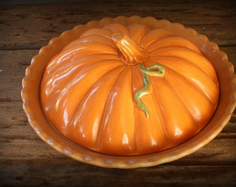 "Vintage Pumpkin Pie Plate~10"" Size With Lid- BEAUTIFUL"