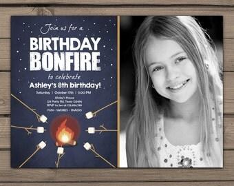 Birthday bonfire invitation Bonfire party invitations Bonfire Campout Birthday party invitation Marshmallows Digital PRINTABLE ANY AGE