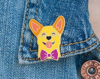 Smiling Corgi Lapel Pin with Butterfly Clasp // Puppy Dog, Hard Enamel, Cloisonne, Accesories, Flair