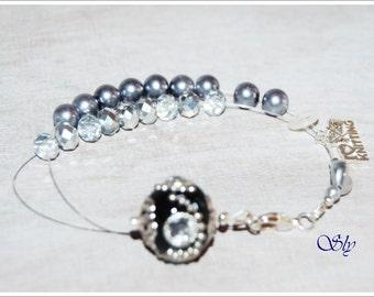 row counter bracelet Keshi Pearls Crystal Pearls black abacus