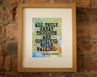 Friedrich Nietzsche Inspirational Travel/Walking Quote Print - Hand-Pulled Screenprint.