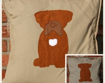 Cushion with a tail - beige reversible dogue de Bordeaux cushion