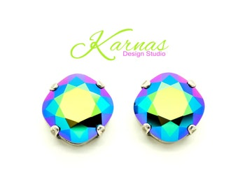 CRYSTAL SCARABAEUS GREEN 12mm Crystal Cushion Cut Stud Earrings Swarovski Elements *Pick Your Finish *Karnas Design Studio *Free Shipping