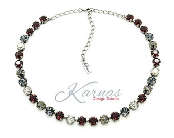 WINTER COGNAC 8mm Crystal Chaton Necklace Made With Swarovski Elements *Pick Your Finish *Karnas Design Studio *Free Shipping*
