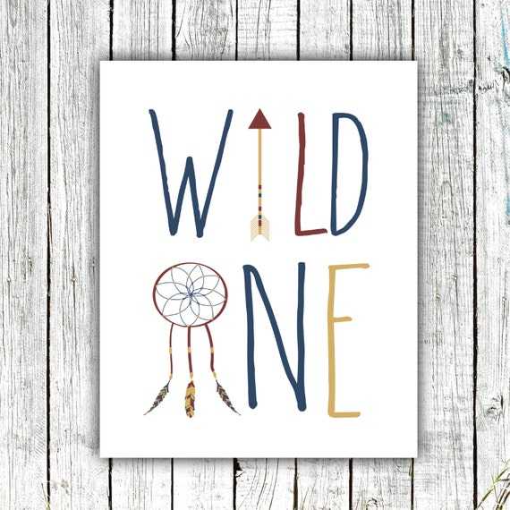 Nursery Art, Wild One, Tribal Decor, Printable Art, Dream Catcher, Arrow, Marsala, Navy, Gold, Size 8x10 #388