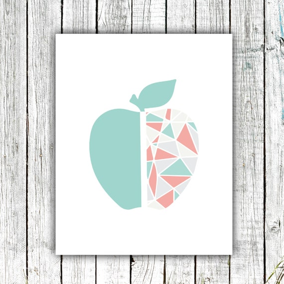 Childrens' Art Printable, Modern, Geometric Apple, Teal Coral and Grey, Size 8x10 #422