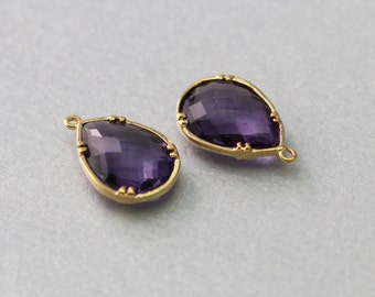 Amethyst Teardrop Glass Pendant . Polished Gold Plated . Brass Framed . 10 Pieces / G1039G-AM010